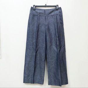 Anthro Cartonnier Linen Palazzo Pants Button Up 0